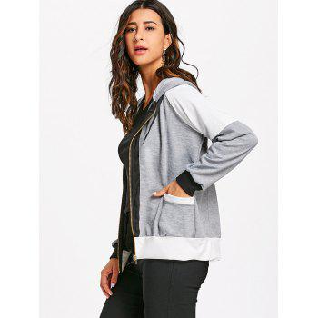 Hooded Raglan Sleeve Zipper Jacket - GRAY L