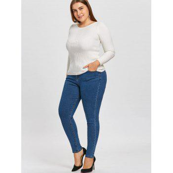 Classic Plus Size Narrow Leg Jeans - DENIM BLUE 4XL