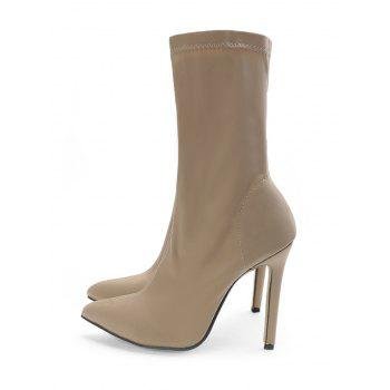 Point Toe High Heel Stretch Ankle Boots - APRICOT 40