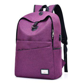 USB Charging Port Multi Function Backpack - PURPLE