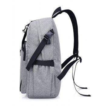 Luminous Cartoon Print USB Charging Port Backpack - GRAY