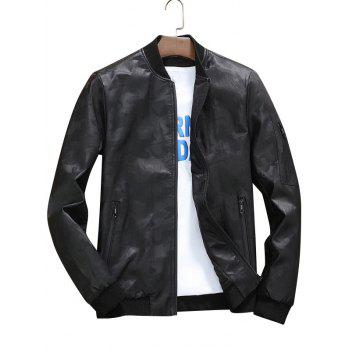 Zip Up Faux Leather Camouflage Bomber Jacket - BLACK BLACK