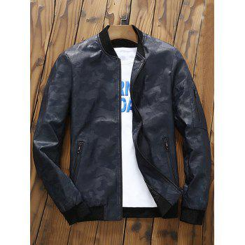 Zip Up Faux Leather Camouflage Bomber Jacket - DEEP BLUE DEEP BLUE