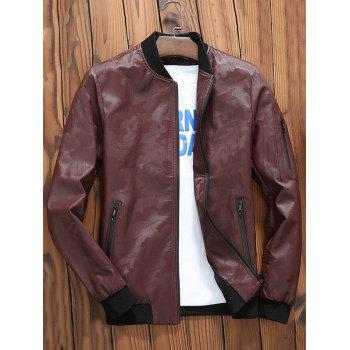 Zip Up Faux Leather Camouflage Bomber Jacket - CLARET L