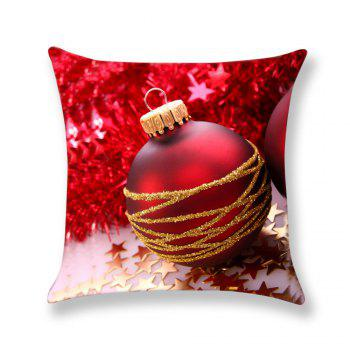 Red Christmas Ball Printed Linen Pillow Case - RED RED