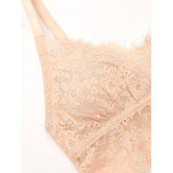 Lace Eyelash See Through Bralette Set - COMPLEXION 80A