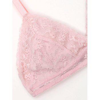 Spaghetti Straps Lace Bralette Set - LIGHT PINK S