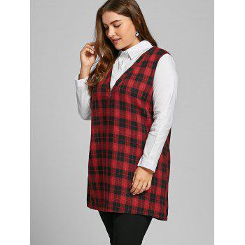 Long Sleeve Plus Size Plaid Panel Blouse - RED 3XL