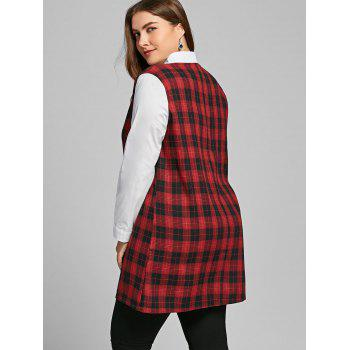Long Sleeve Plus Size Plaid Panel Blouse - RED 4XL