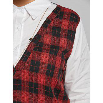 Long Sleeve Plus Size Plaid Panel Blouse - RED RED