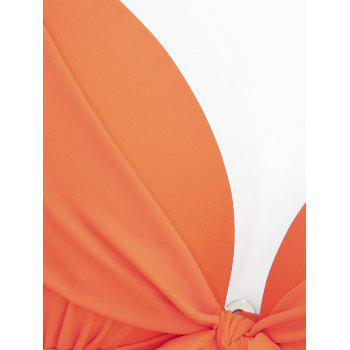 Underwire Halter Tied Side Bikini Set - ORANGE ORANGE