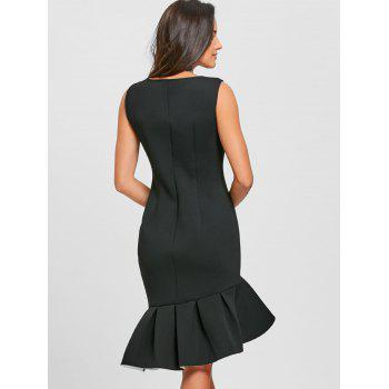 Sleeveless Flounced Mermaid Dress - BLACK XL
