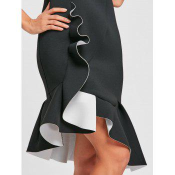 Sleeveless Flounced Mermaid Dress - BLACK 2XL