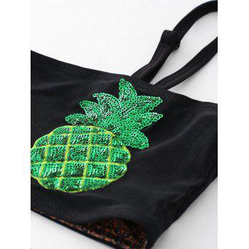 Sequined Pineapple Bandeau Bikini Set - BLACK XL