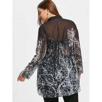 Monochrome Plus Size Dip Hem Tunic Blouse - BLACK BLACK