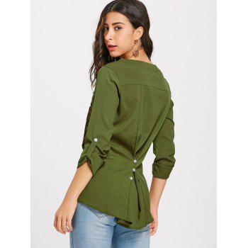 V-neck Lace Buttoned Blouse - ARMY GREEN L