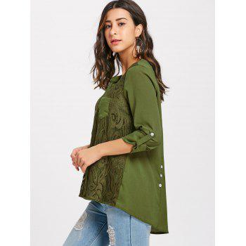 V-neck Lace Buttoned Blouse - ARMY GREEN M