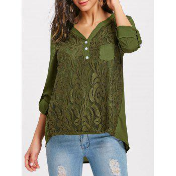V-neck Lace Buttoned Blouse - ARMY GREEN ARMY GREEN