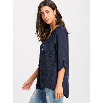 V-neck Lace Buttoned Blouse - CADETBLUE CADETBLUE