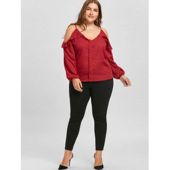 Plus Size Ruffled Long Sleeve Chiffon Cold Shoulder Top - RED 2XL