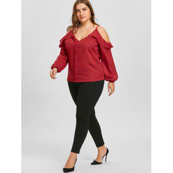 Plus Size Ruffled Long Sleeve Chiffon Cold Shoulder Top - RED XL