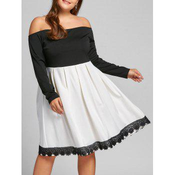 Plus Size Two Tone Fit and Flare Dress - WHITE AND BLACK WHITE/BLACK