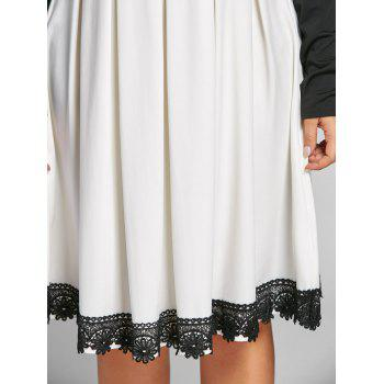 Plus Size Two Tone Fit and Flare Dress - WHITE/BLACK WHITE/BLACK