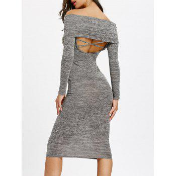 Off Shoulder Cut Out Back Bodycon Dress - GRAY GRAY