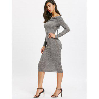 Off Shoulder Cut Out Back Bodycon Dress - GRAY XL