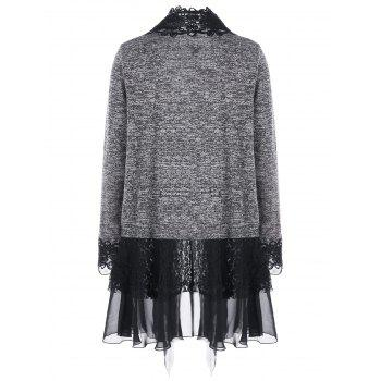 Plus Size Open Front Lace Trimmed Cardigan - GRAY XL