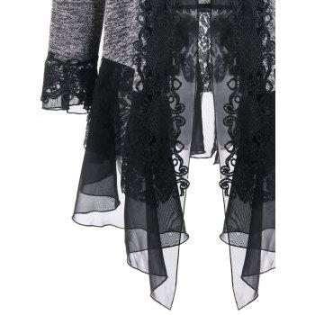 Plus Size Open Front Lace Trimmed Cardigan - GRAY GRAY