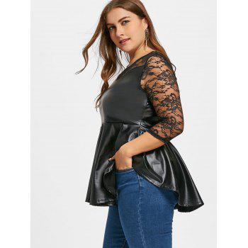 Plus Size Lace Yoke Faux Leather Peplum Top - BLACK XL