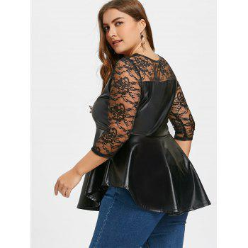 Plus Size Lace Yoke Faux Leather Peplum Top - BLACK BLACK