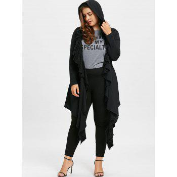 Plus Size Lace Trim Flounced Hooded Coat - BLACK BLACK