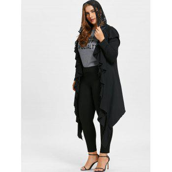 Plus Size Lace Trim Flounced Hooded Coat - BLACK 2XL