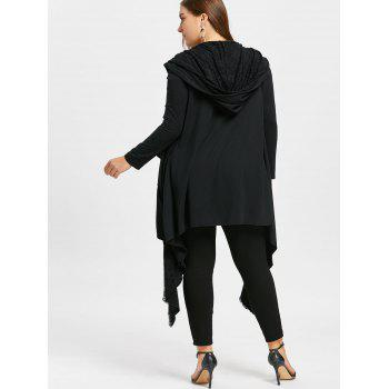 Plus Size Lace Trim Flounced Hooded Coat - BLACK 5XL