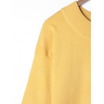 Plus Size Wide Sleeve Two Tone Sweater - YELLOW 2XL
