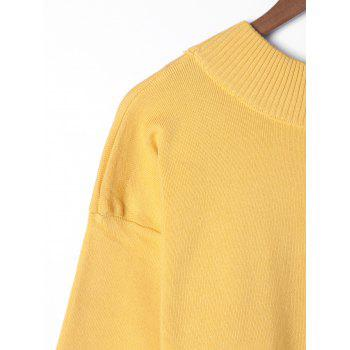 Plus Size Wide Sleeve Two Tone Sweater - YELLOW 3XL
