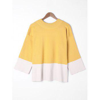 Plus Size Wide Sleeve Two Tone Sweater - YELLOW 4XL