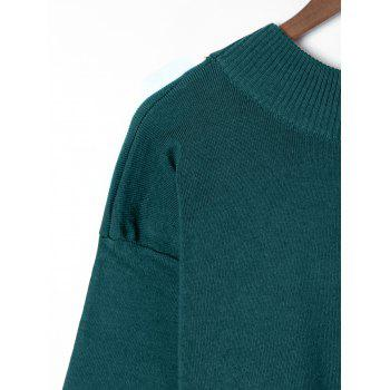 Plus Size Wide Sleeve Two Tone Sweater - OLIVE GREEN 2XL