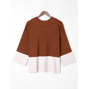Plus Size Wide Sleeve Two Tone Sweater - DARK AUBURN DARK AUBURN