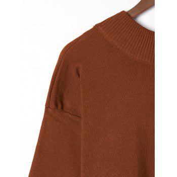 Plus Size Wide Sleeve Two Tone Sweater - DARK AUBURN 3XL