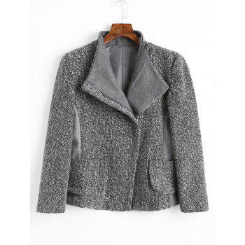 Pockets Oblique Zipper Tweed Wool Jacket - GRAY GRAY