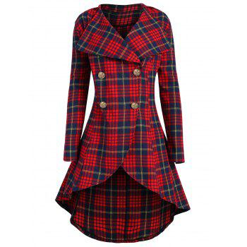 Double Breasted Plus Size Plaid Coat