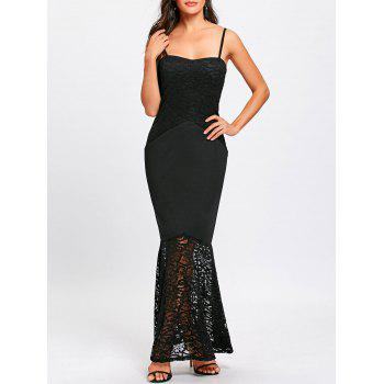 Lace Insert Spaghetti Strap Mermaid Dress - BLACK BLACK