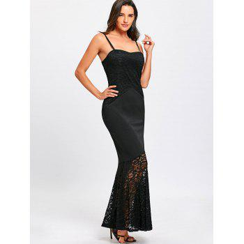 Lace Insert Spaghetti Strap Mermaid Dress - BLACK XL