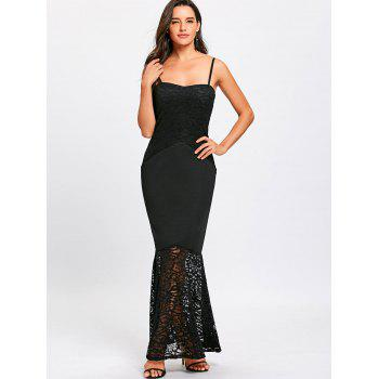 Lace Insert Spaghetti Strap Mermaid Dress - BLACK L