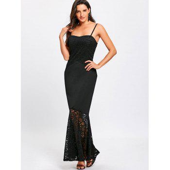 Lace Insert Spaghetti Strap Mermaid Dress - BLACK M