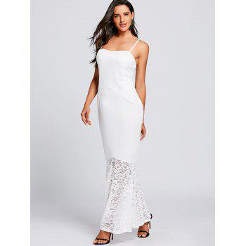 Lace Insert Spaghetti Strap Mermaid Dress - WHITE WHITE