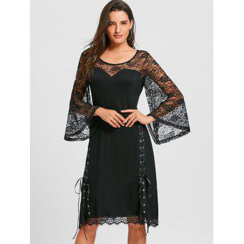 Lace Up Sheer Flare Sleeve Dress - BLACK L